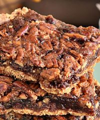 Gooey Chocolate Peacan Pie Bars at TidyMom.net