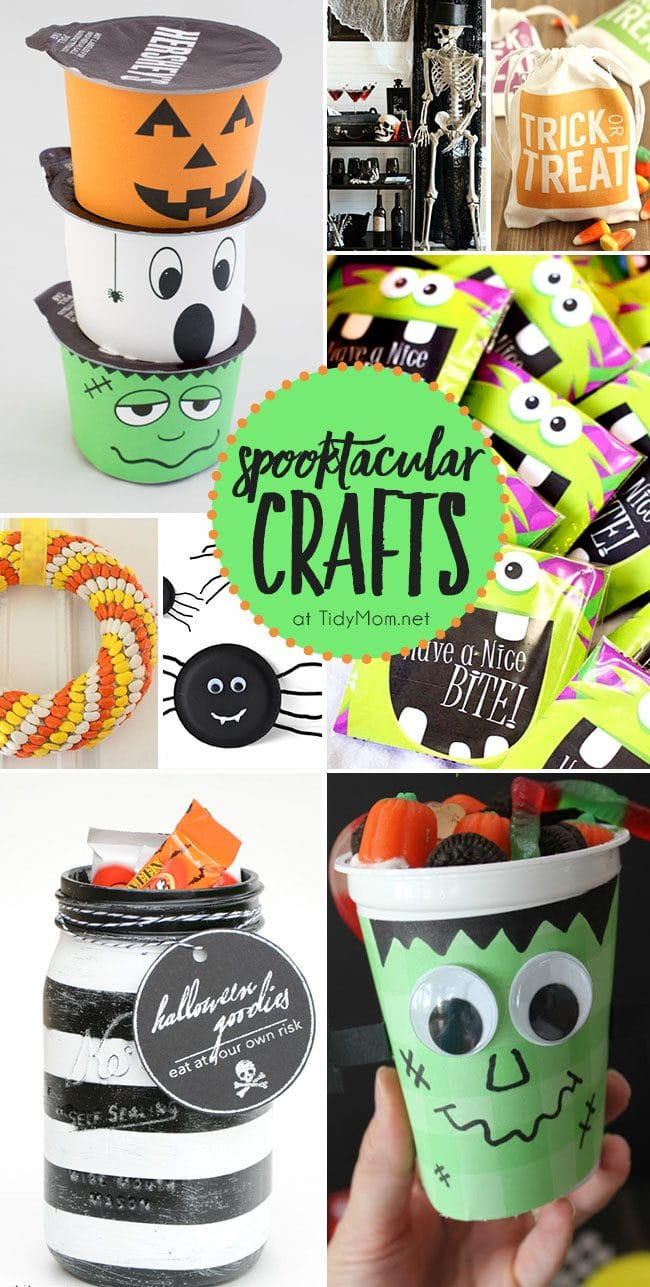 Fun, easy and non-scary Spooktacular Crafts to make for Halloween! Get all the details at TidyMom.net