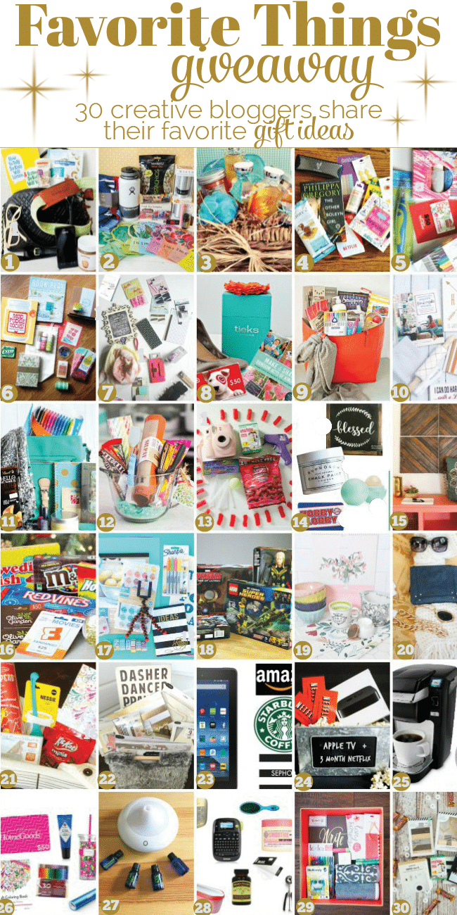 30 creative bloggers share their favorite GIFT IDEAS. Favorite Things Giveaway 2015. Enter for a chance to win!! 30 holiday giveaways! details at TidyMom.net