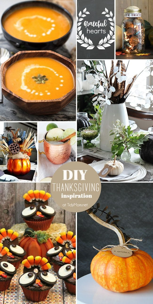 Easy and Beautiful DIY Thanksgiving Inspiration. These affordable DIY Thanksgiving crafts, recipes and decor will get your home ready for holiday entertaining. at TidyMom.net