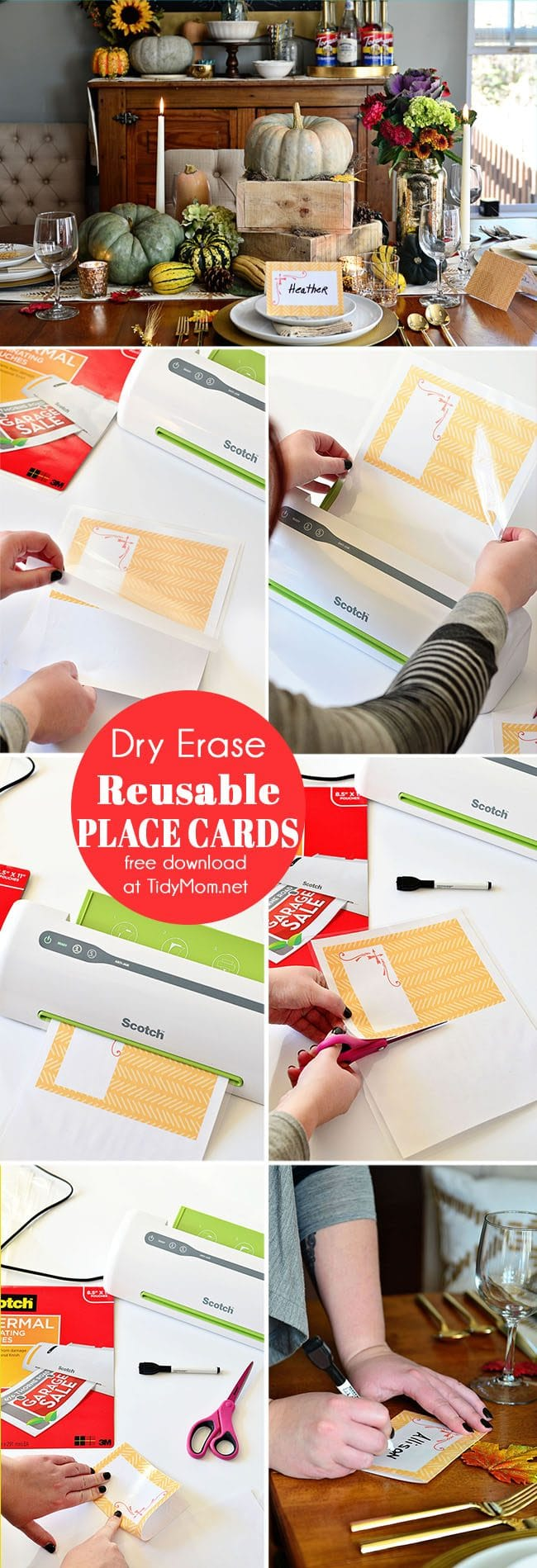 DIY Laminated Place Cards . Free printable at TidyMom.net Perfect for Thanksgiving Christmas or any time of year. Use a dry erase marker and you can use them over and over again!
