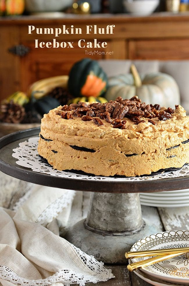 Pumpkin Fluff Icebox Cake is a delicious no-bake dessert that comes together in no time. Making it the perfect make-ahead dessert for Thanksgiving dinner. Get this all-star, easy-to-follow recipe at TidyMom.net