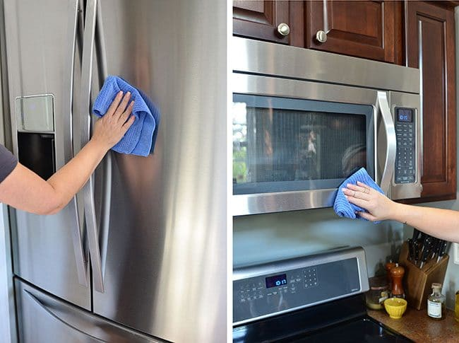 cleaning stainless steel with microfiber cloth