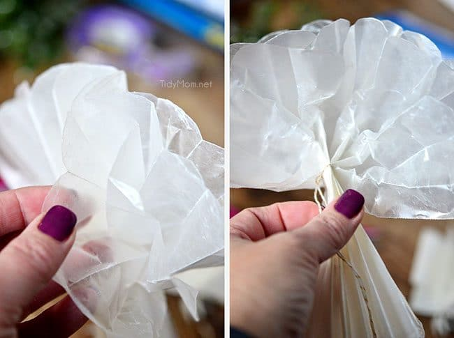 Easy Holiday Gift Wrapping: How to make a Wax Paper Bow at TidyMom.net