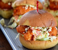 Beer Battered Buffalo Shrimp Sliders recipe at TidyMom.net