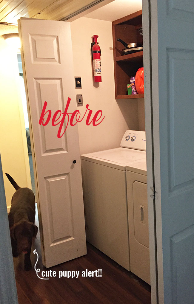 Drap to fab small space laundry makeover! a little fresh paint, organization accessories and Samsung activewash Washer and Dryer give this small laundry closet a fun facelift! A real laundry room with practical ideas at TidyMom.net