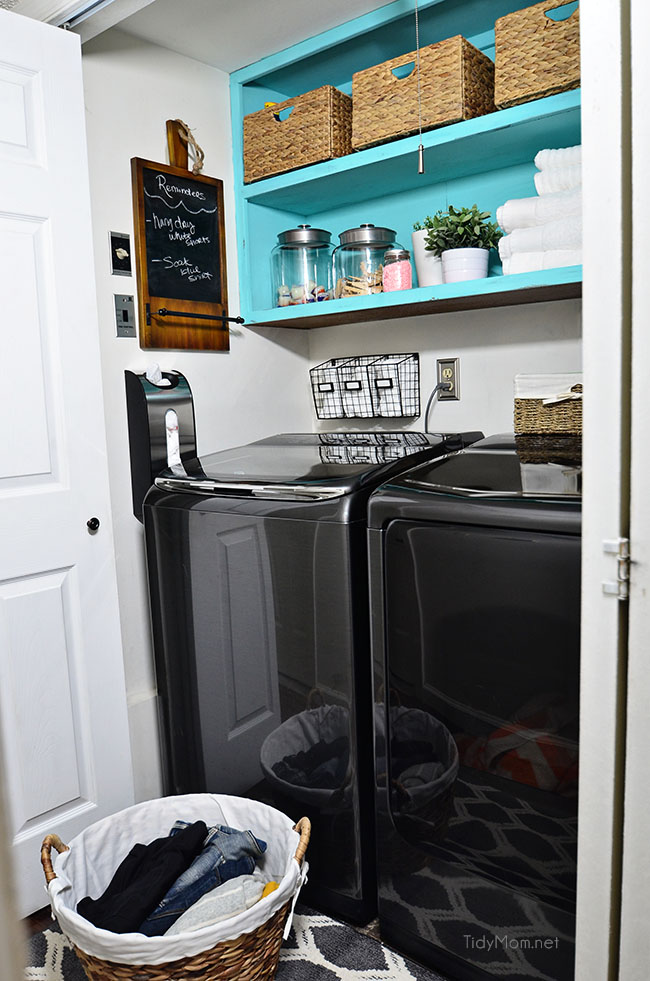 Drab to fab small space laundry makeover! a little fresh paint, organization accessories and Samsung activewash Washer and Dryer give this small laundry closet a fun facelift! A real laundry room with practical ideas at TidyMom.net
