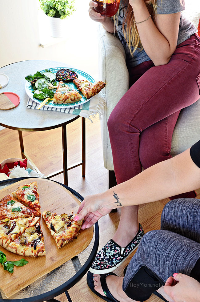 Customize an oven-ready cheese pizza with your own toppings. Grilled artichoke, chicken sun-dried tomato pizza topped with parmesan cheese was a big hit at our Girls Night Pizza Party!