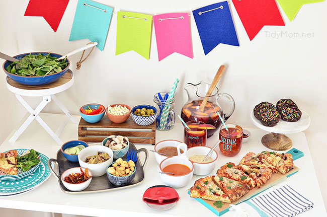 Girls Night Pizza Party! Customize a DIGIORNO Originial Rising Crust Four Cheese with your own toppings, like roasted artichokes, sundried tomatoes, grilled chicken and parmesan cheese. While the pizza bakes for 20 minutes, set up a salad bar! Details at TidyMom.net