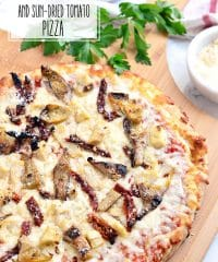 Customize an oven-ready cheese pizza with your own toppings. Grilled artichokes, chicken sundried tomato pizza topped with parmesan cheese was a big hit at our Girls Night Pizza Party! Details at TidyMom.net