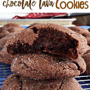 Hot Fudge Filled Chocolate Lava Cookies recipe via TidyMom.net