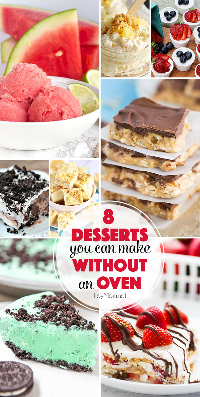Desserts you can make this summer with out the oven!! 8 Irresistable NO-BAKE DESSERT Recipes at TidyMom.net