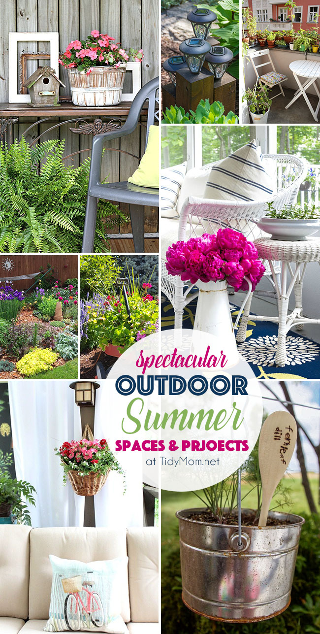 Spectacular Outdoor Summer Spaces and Projects from ponds to patios and gardens to hanging baskets and more! Details and TidyMom.net