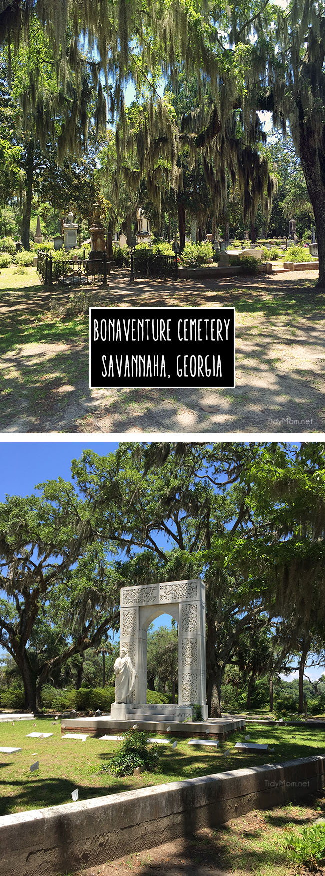 Hauntingly beautiful Bonaventure Cemetery Savannah, Georgia Featured on the cover of Midnight in the Garden of Good and Evil. More Savannah Sightseeing at TidyMom.net