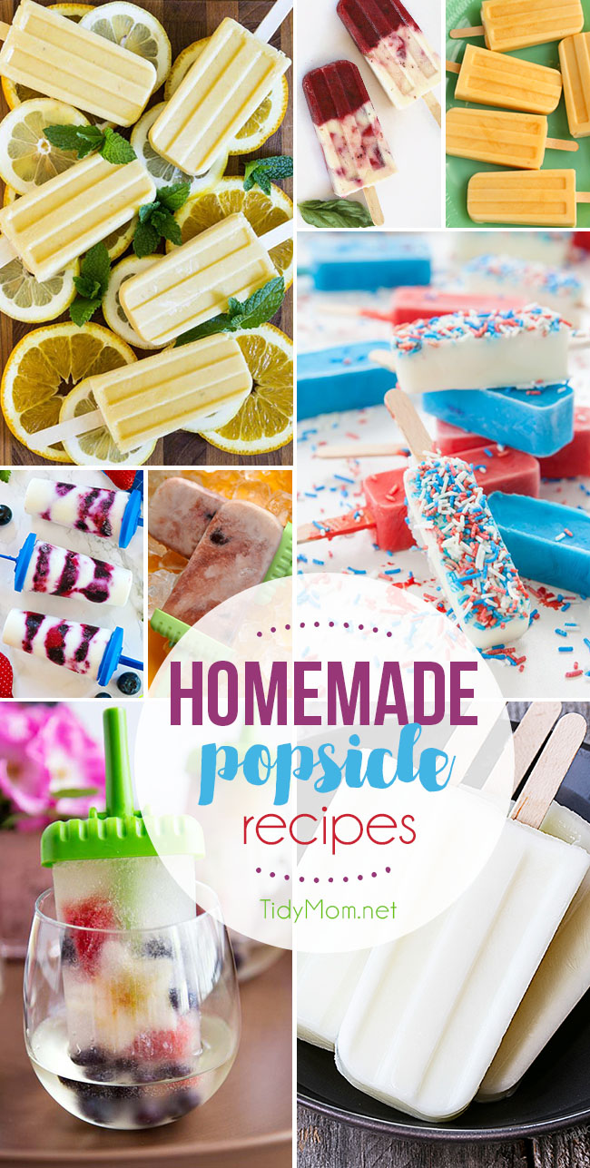 Maybe it's the crazy heat of the summer or all the mouthwatering photos of HOMEMADE POPSICLE RECIPES I've seen. But, the tasty frozen treats have been on my mind nonstop lately. Boozy, creamy or fruity…it doesn't matter. Delicious HOMEMADE POPSICLE RECIPES at TidyMom.net