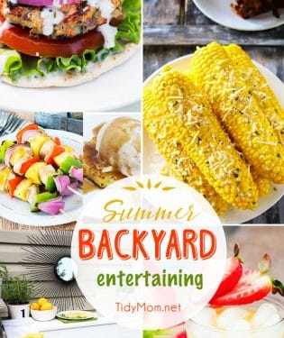 Summer Backyard Entertaining ideas and recipes. From DIY Citronella Candles, to a pallet bar to corn on the cob, burgers, cocktails, kabobs and grilled pineapples!