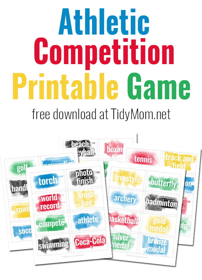 Enjoy watching the Olympics? You'll love this Heads Up! World Athletic Competition printable game. Free download and directions at TidyMom.net