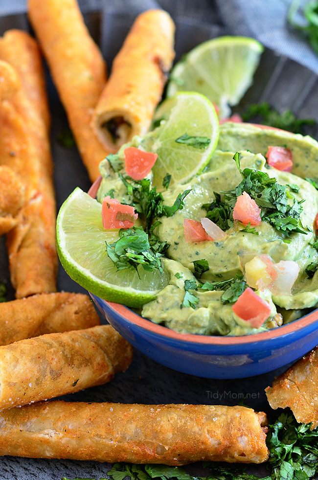 Avocado Creme Sauce with Crunchy Chicken and Cheese Taquitos the perfect snack anytime!