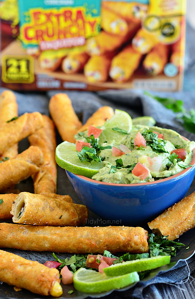 Perfect for snack time, or party time! Avocado Creme Sauce with Extra Crunchy Chicken and Cheese Taquitos at TidyMom.net