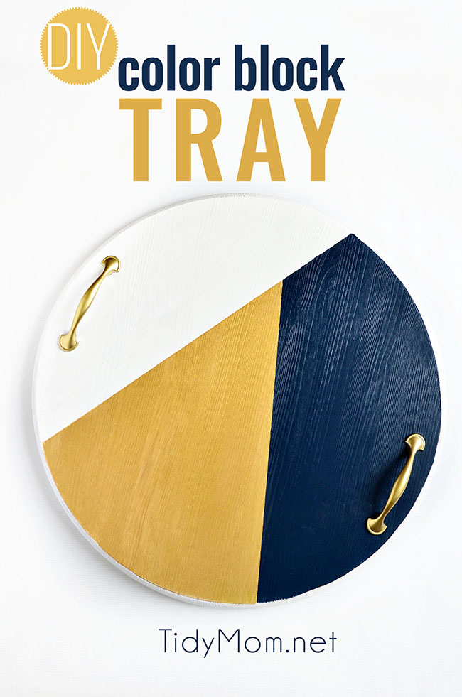 A bold colorful tray is the perfect way to add a pop of color to a space and use it as a serving tray when entertaining. The color blocking gives this tray a modern look while the touch of gold adds a little elegance! Get the full tutorial to make your own DIY Color Block Tray at TidyMom.net