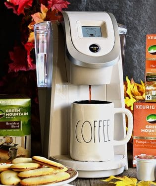 Sandy Pearl White Keurig Brewer + Green Mountain Coffee K-Cup® pods for the perfect cup of coffee every time, all year long.