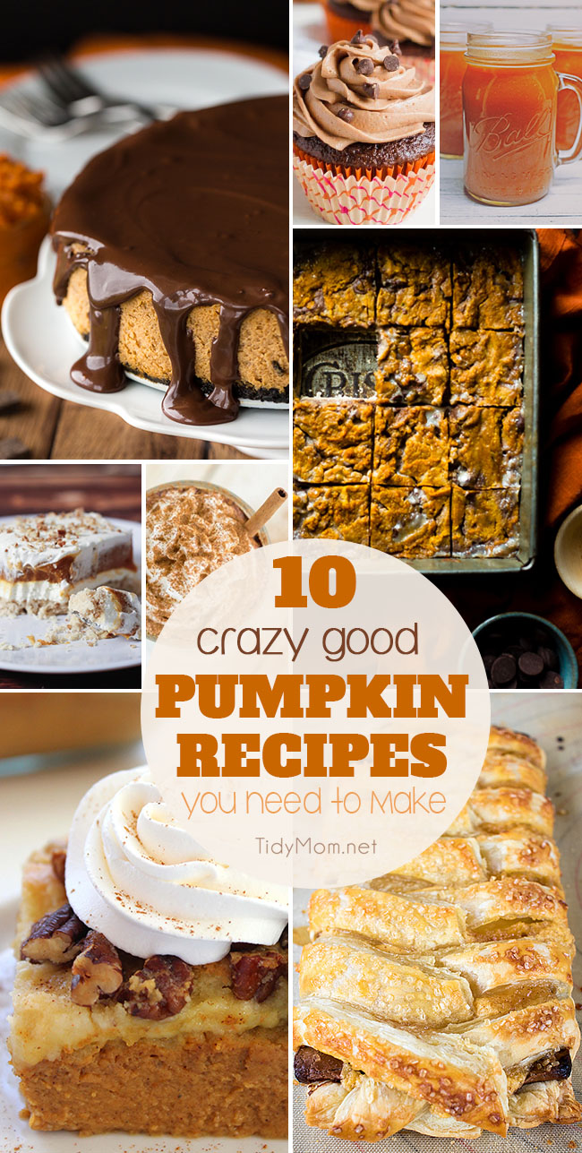 Collection of PUMPKIN RECIPES you need to make this fall. From Slow Cooker Pumpkin Spice Latte and Pumpkin Cheesecake to Pumpkin Dump Cake, Harry Potter Pumpkin Juice and more! Find all the crazy good pumpkin recipes at TidyMom.net