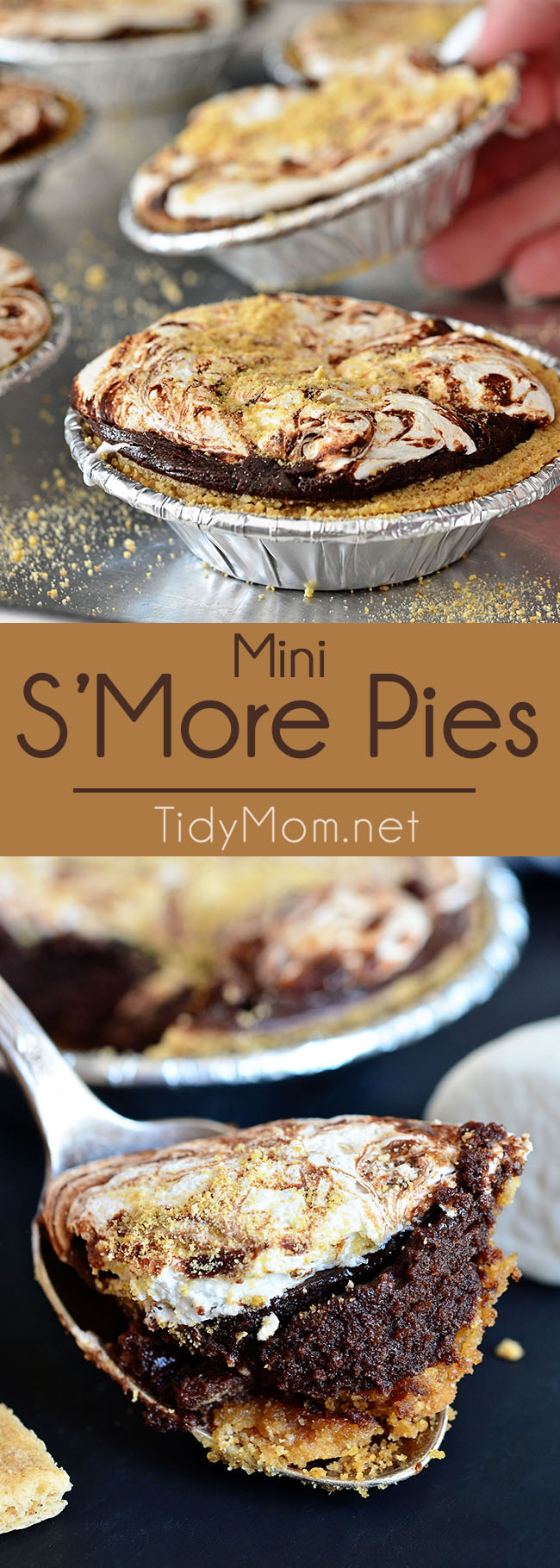 Mini S'more Pies are the perfect dessert for entertaining or snacking. It's one of those 'wow-your-guests but almost no effort' recipes that will have everyone drooling. S'more lovers can get this pie recipe at TidyMom.net