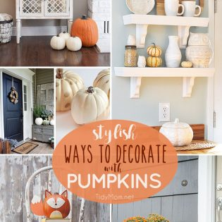 Get your home ready for fall with these 8 Stylish Ways to Decorate with Pumpkins. From simple faux or fresh pumpkins to glam or woodland pumpkins, you're sure to find something to fit your fall home decor and style. Details at TidyMom.net