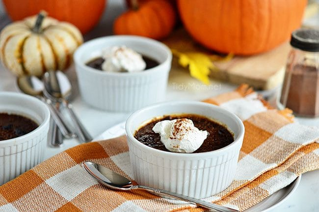 Pumpkin Crème Brûlée with molasses. Delicious holiday dessert. Get the recipe at TidyMom.net
