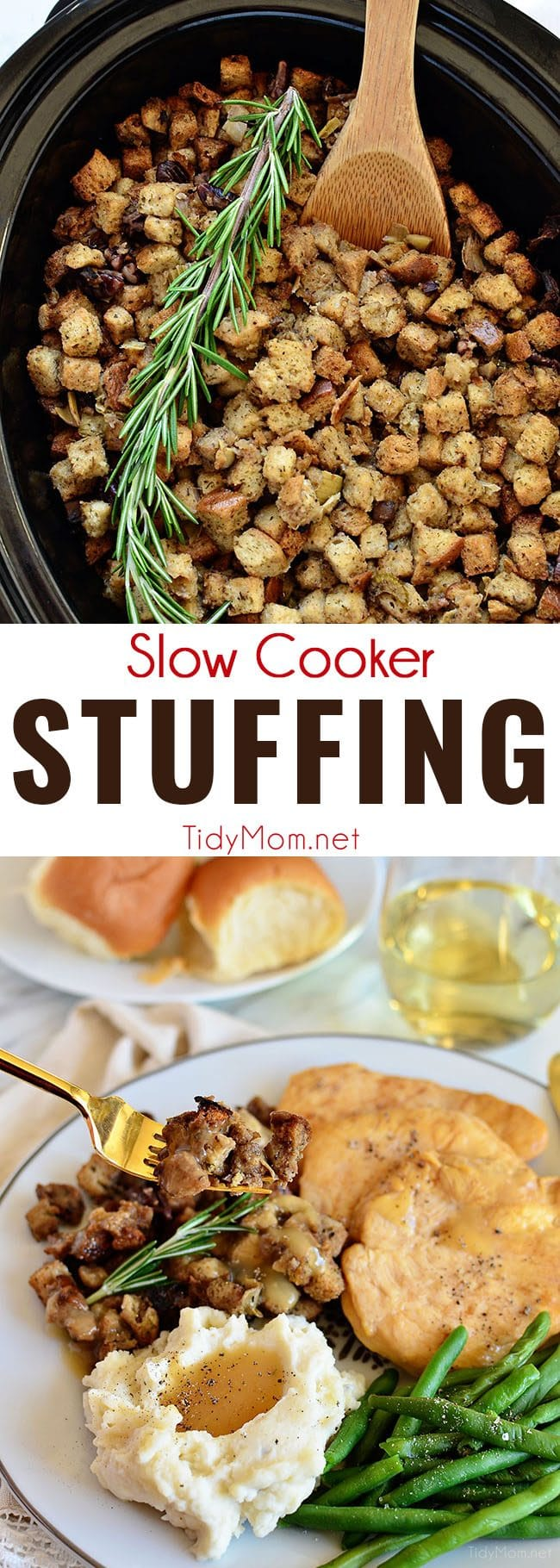 Slow Cooker Stuffing with artichokes, mushrooms and toasted pecans. Easy, flavorful and perfect for any holiday meal. Get the recipe at TidyMom.net