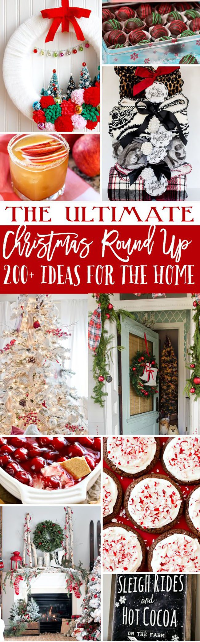 The Ultimate Christmas Round Up! Over 200 ideas for the home, gifts and recipes to make. You'll find homemade Christmas treats, drinks and appetizers, to party ideas, printables, gifts, Christmas decor and more at TidyMom.net