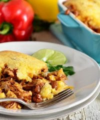 Delicious Cornbread BBQ Chicken Pot Pie. Grill chicken indoors for a taste of summer in the winter!! So easy! Recipe at TidyMom.net