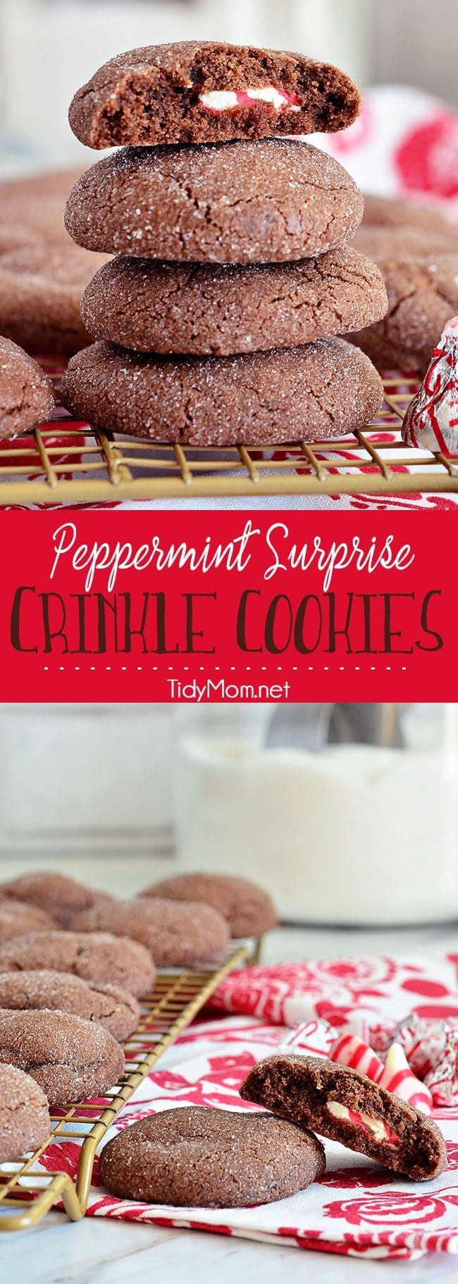 Super soft chocolate cookies hold a peppermint kiss in the center in these Peppermint Surprise Crinkle Cookies. Printable recipe at TidyMom.net