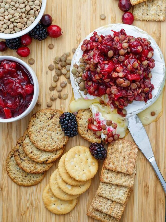 Cranberry Lentil Brie Bake perfect for a Valentine's Day Dinner Meal Plan
