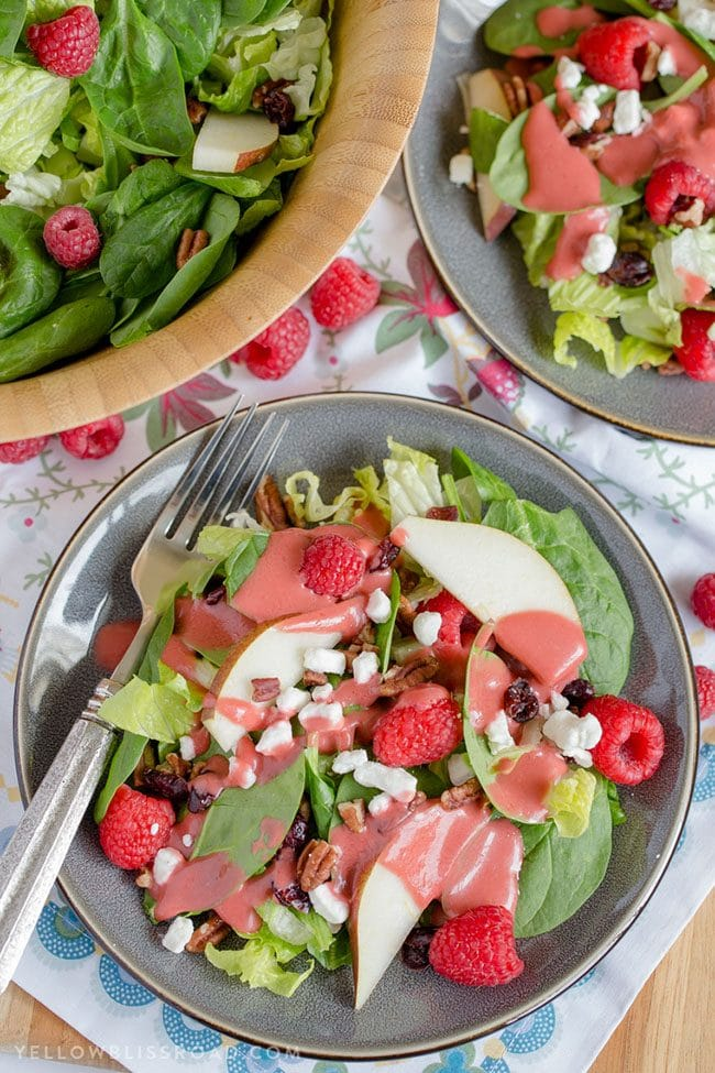 Raspberry Pear Salad with Homemade Raspberry Vinaigrette perfect for a Valentine's Day Dinner Meal Plan