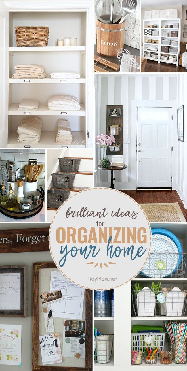 Brilliant ideas to get your home organized! These are quick simple ideas that don't cost a lot of money to gain valuable space in your home! Details at TidyMom.net