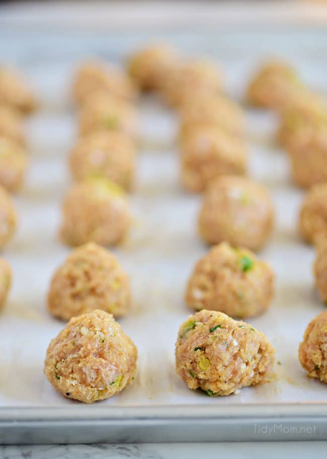 Buffalo Chicken Meatballs with ranch taste just like buffalo hot wings. Get the recipe at TidyMom.net