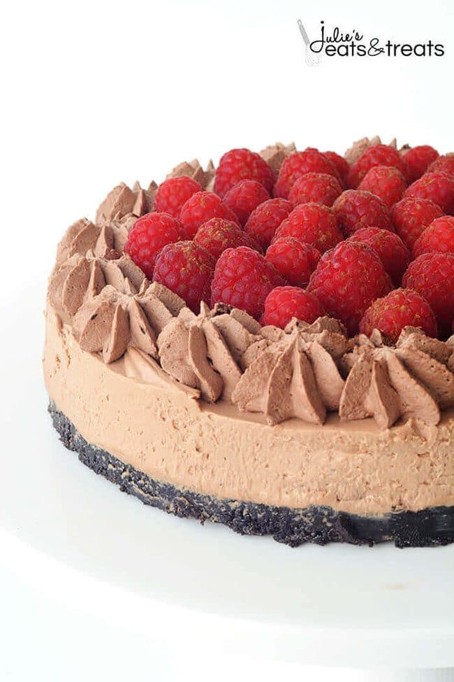 Raspberry Chocolate Cheesecake perfect for a Valentine's Day Dinner Meal Plan