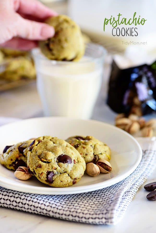 ... dark chocolate chunks that pairs perfectly with chopped pistachios. I
