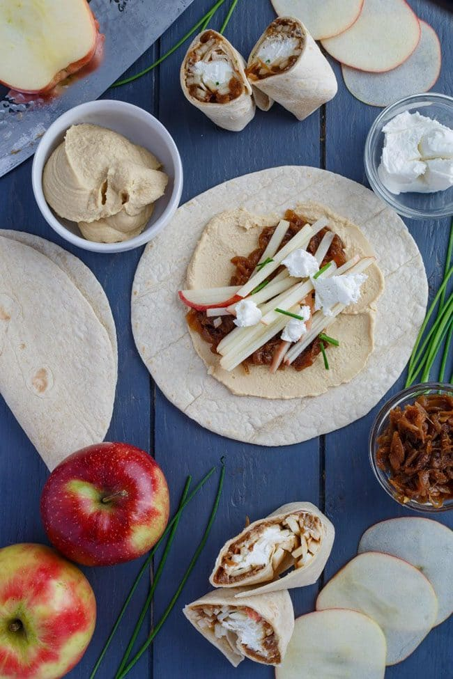 Mother's Day Brunch Meal Plan recipes, printables and decor at TidyMom.net Caramelized Onion Apple Wraps with Hummus recipe