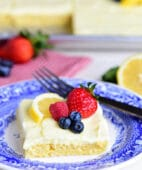This no-fuss lemon sheet cake is super moist and makes a wonderful spring or summer dessert that easily feeds a crowd. It may not be a fancy cake, but each slice is pure lemon bliss! print full recipe at TidyMom.net