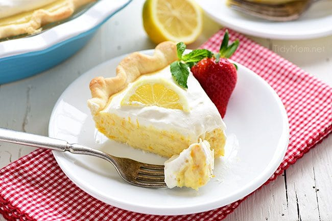 This Meyer Lemon Pie packs a ton of lemon flavor with a fluffy texture to a simple homemade dessert. Pops of sweet tangy Meyer lemons are perfect for spring. The pie is not overly sweet and has lots of citrus love all the way through to the homemade whipped cream for the top! Get the full printable recipe at TidyMom.net