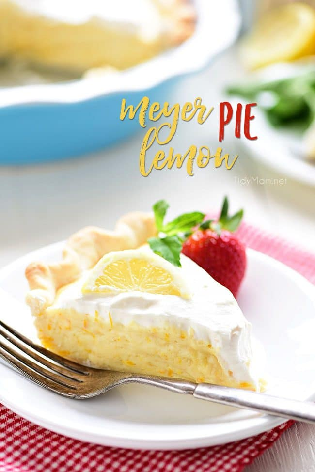 Mother's Day Brunch Meal Plan recipes, printables and decor at TidyMom.net - Meyer Lemon Pie Recipe