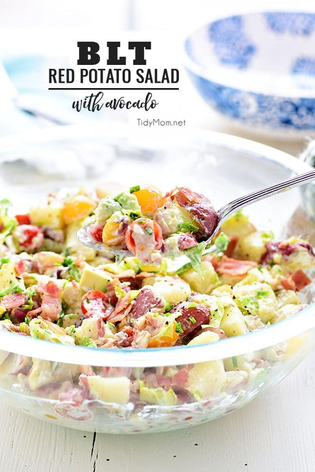 This easy Red Potato Salad has an avocado ranch dressing along with bacon, lettuce and tomato! It's a simple crowd-pleasing side dish for any size gathering. Print this BLT Red Potato Salad with Avocado recipe at TidyMom.net