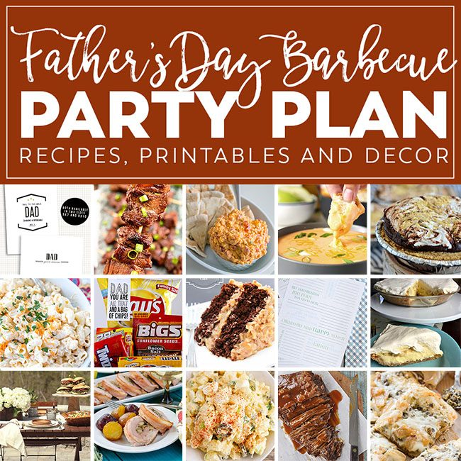 Summer Barbecue Meal Plan for Father's Day! Tons of great ideas to celebrate Dad this Father's Day, and any of these recipes would be great for a backyard barbecue this summer! Get the Father's Day Barbecue Party Plan at TidyMom.net