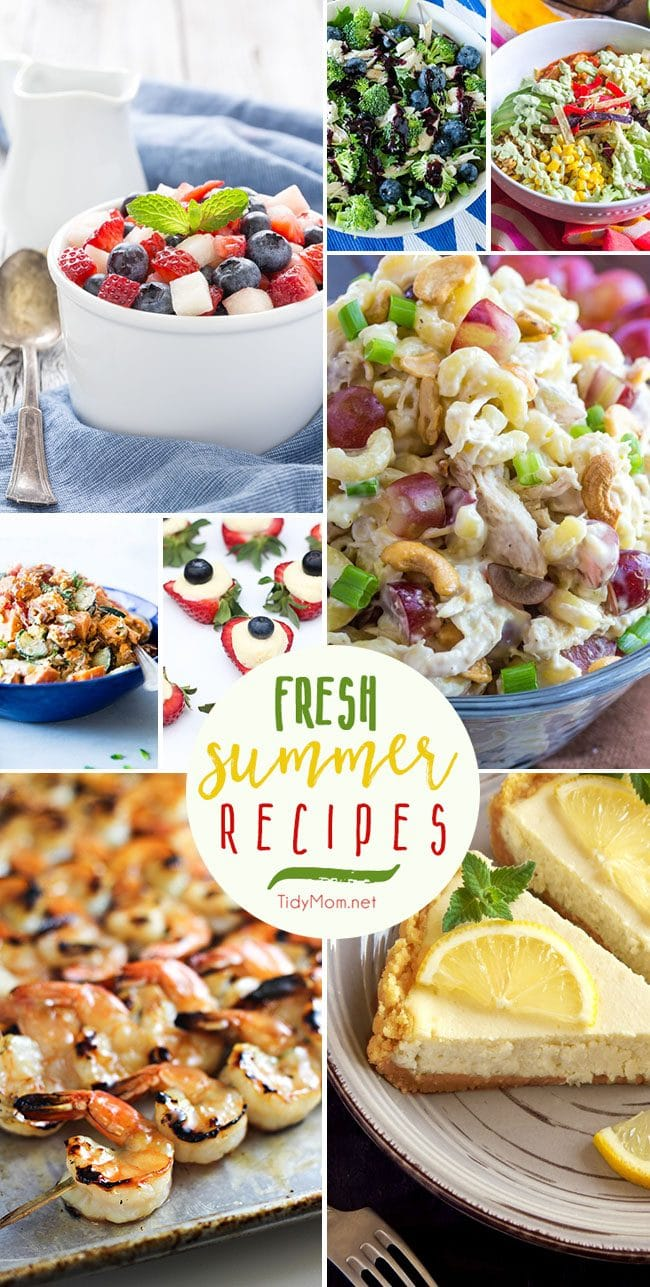 Picnic, bbq and outdoor party season begins this weekend and I can't wait! Summer celebrations are packed with family, friends, fun and Fresh Summer Recipes. From salads, to shrimp on the grill, lemon cheesecake and more they are all crowd pleasing recipes and you are going to love them. Recipes at TidyMom.net