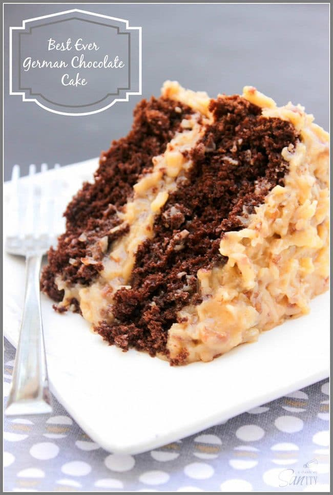 Summer Barbecue Meal Plan for Father's Day! Tons of great ideas to celebrate Dad this Father's Day, and any of these recipes would be great for a backyard barbecue this summer! Get recipes, printables and party decor at TidyMom.net - Best Ever German Chocolate Cake
