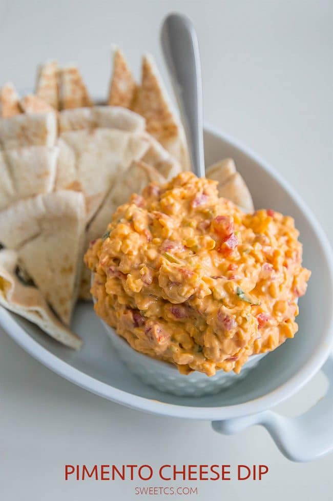 Summer Barbecue Meal Plan for Father's Day! Tons of great ideas to celebrate Dad this Father's Day, and any of these recipes would be great for a backyard barbecue this summer! Get recipes, printables and party decor at TidyMom.net - Pimento Cheese Dip