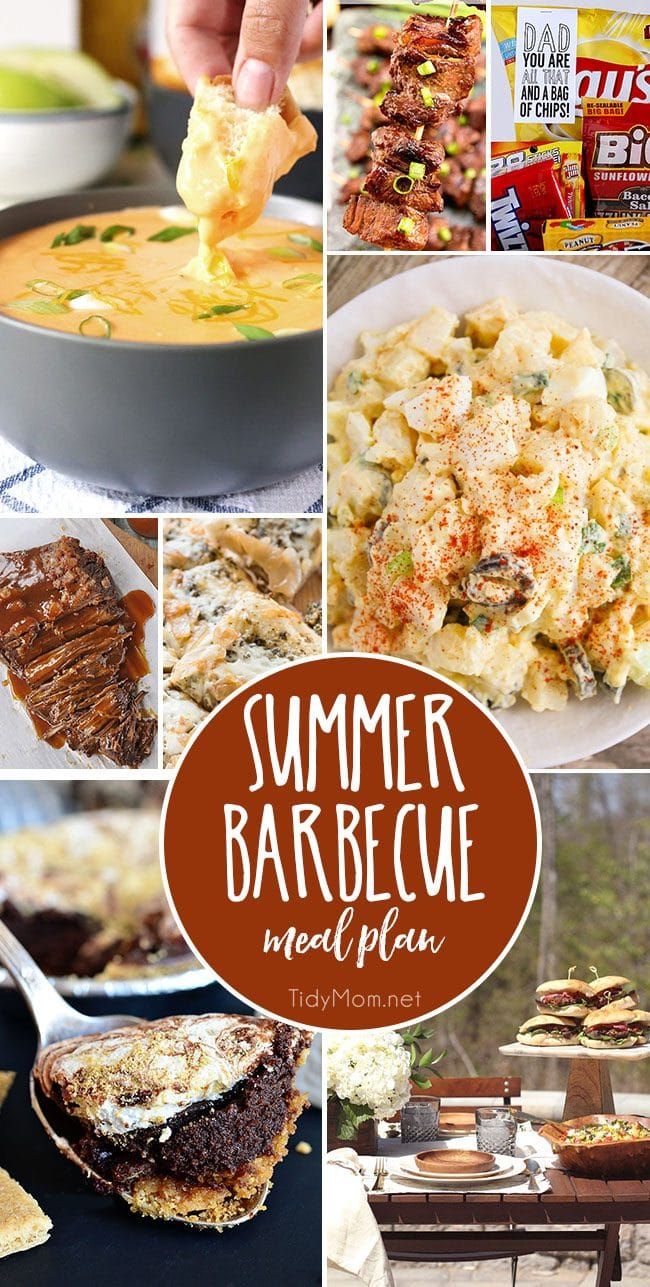 Summer Barbecue Meal Plan for Father's Day! Tons of great ideas to celebrate Dad, or any backyard barbecue this summer! Get recipes, printables and party decor at TidyMom.net