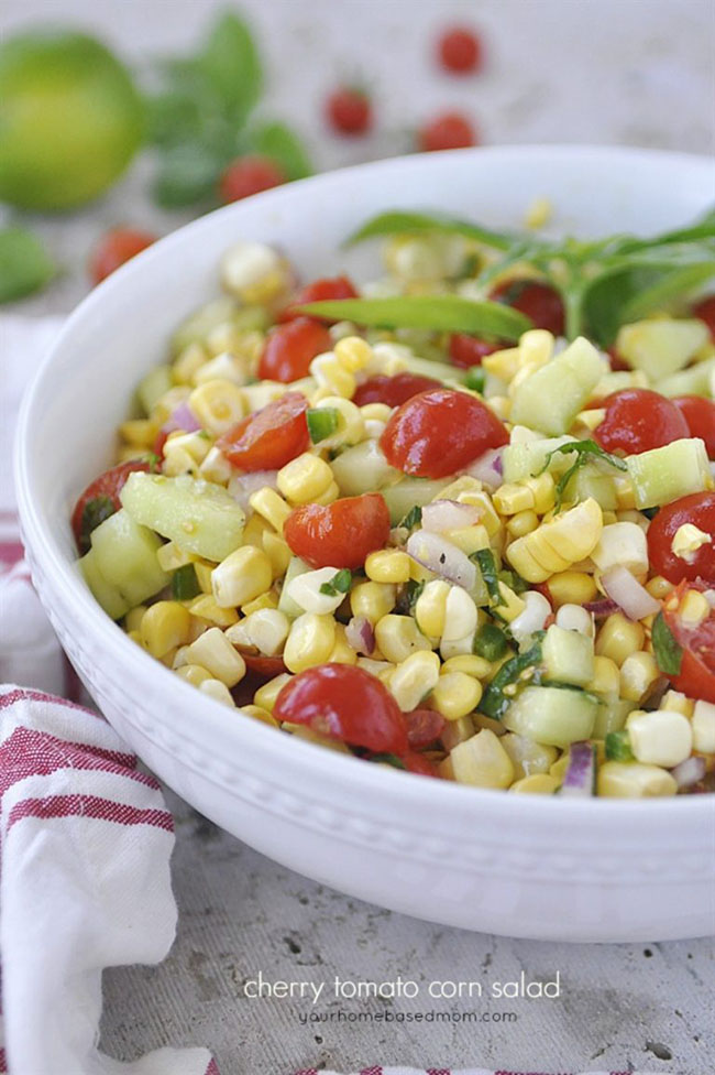 Cherry Tomato Corn Salad - Your Homebased Mom: How to Plan a Perfect Picnic. Get recipes, printables and more to plan a perfect picnic at TidyMom.net